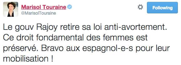 tweet Marisol Touraine ivg espagne