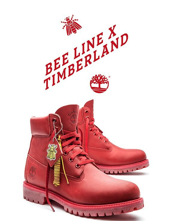 red and happy timberland colette