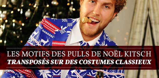 Les motifs des pulls de Noël kitsch transposés sur des costumes classieux