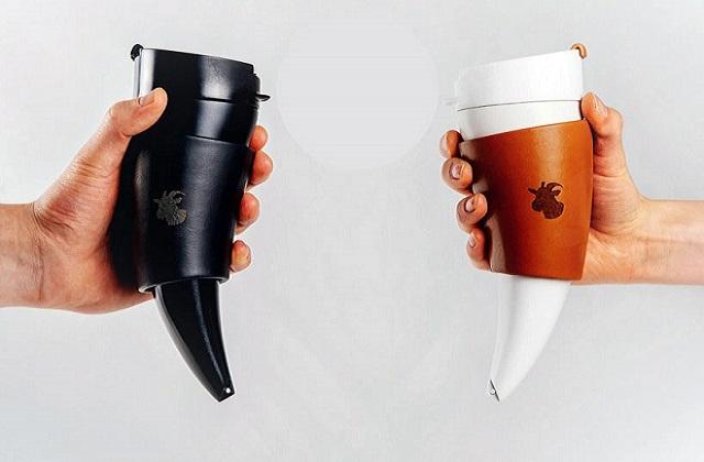 Le mug à café « corne de chèvre», pour se réveiller comme un Viking