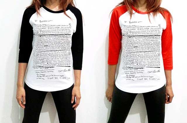 La lettre de suicide de Kurt Cobain imprimée sur un T-shirt — WTF Mode