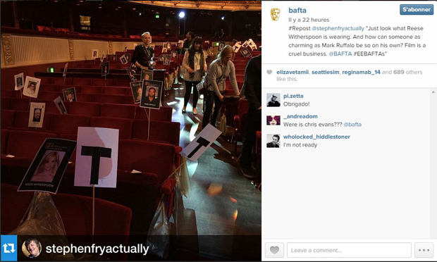 Compte Instagram des BAFTA : http://instagram.com/p/y122kZp3Sa/?modal=true