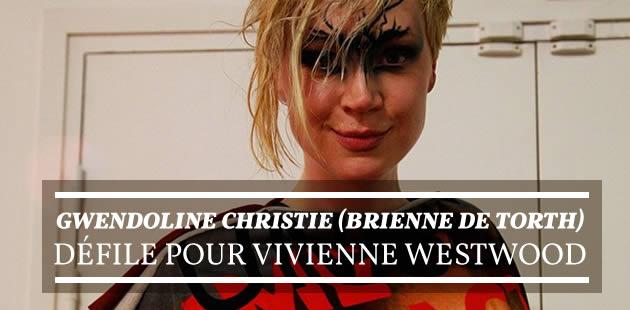Gwendoline Christie (Brienne de Torth) défile pour Vivienne Westwood