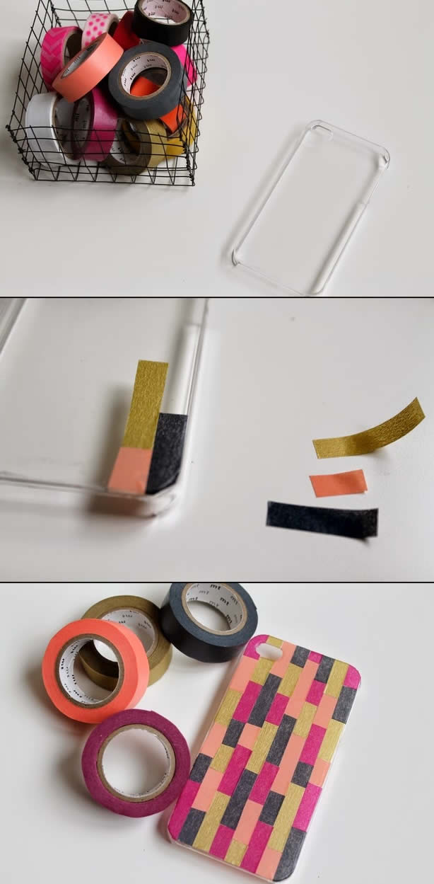 diy customiser sa coque de t l phone avec du masking tape. Black Bedroom Furniture Sets. Home Design Ideas
