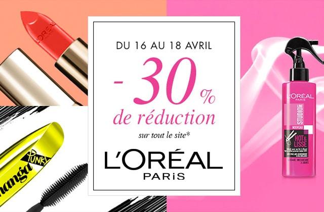 L'Oréal Paris t'offre 30% de réduction sur tout son e-shop !