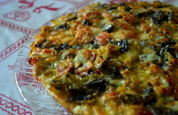 pizza poireaux fromage jambon