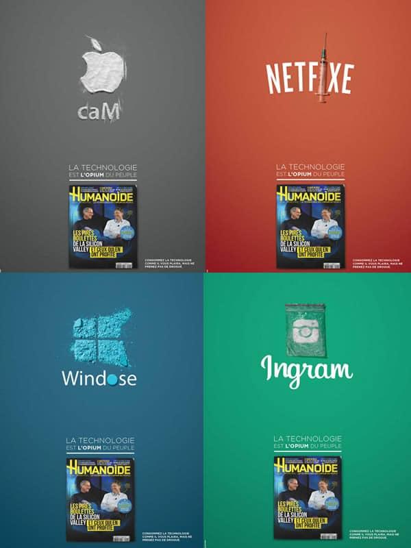 des logos d tourn s pour d noncer l 39 addiction aux nouvelles technologies. Black Bedroom Furniture Sets. Home Design Ideas