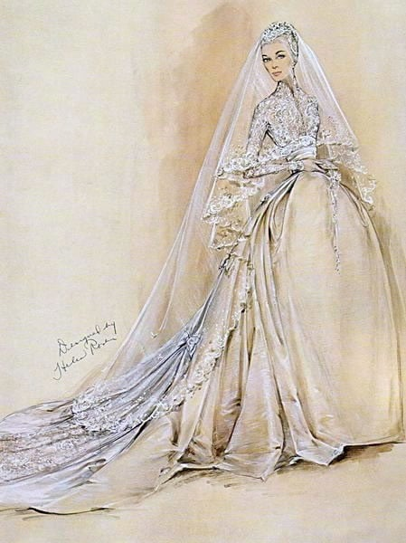 Grace Kelly's wedding dress drawing