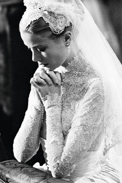 grace kelly wedding outfil head hair
