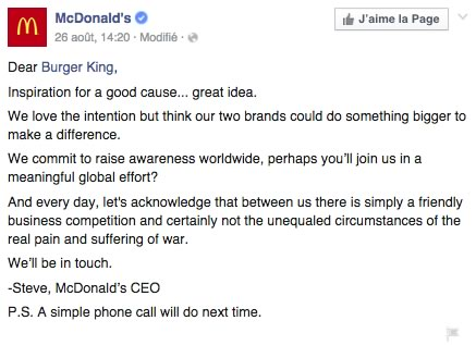mcdonalds reponse burger king