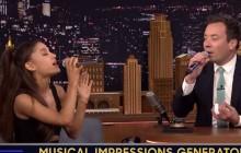 Ariana Grande imite Britney Spears et Christina Aguilera chez Jimmy Fallon
