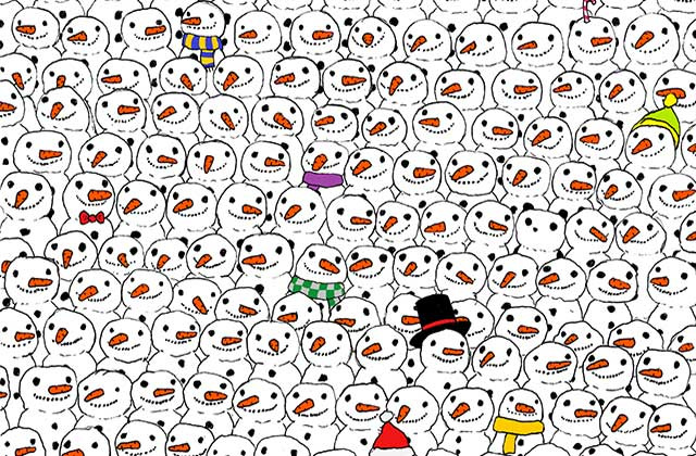 Un panda planqué parmi les bonhommes de neige, le challenge qui nous laisse… perplexes