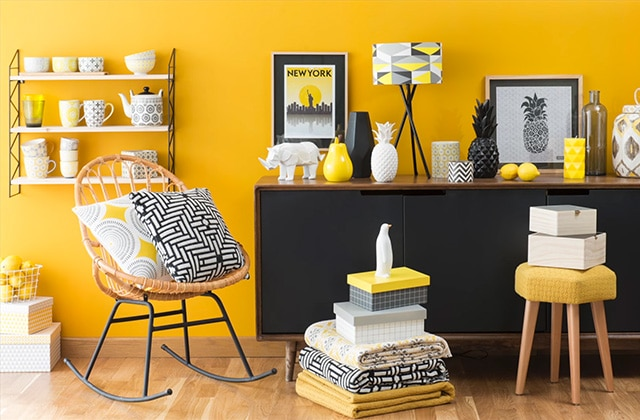 s lection d co pour un salon jaune citron. Black Bedroom Furniture Sets. Home Design Ideas