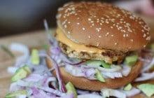 Burger au saumon épicé—Recette poisson d'avril (vous l'avez?)