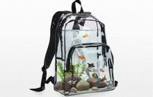 Le sac à dos aquarium, accessoire de mode fragile (risques de fuite élevés)