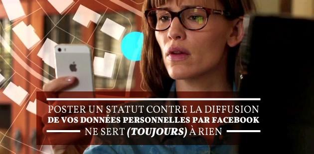 Poster un statut contre la diffusion de vos données personnelles par Facebook ne sert (toujours) à rien
