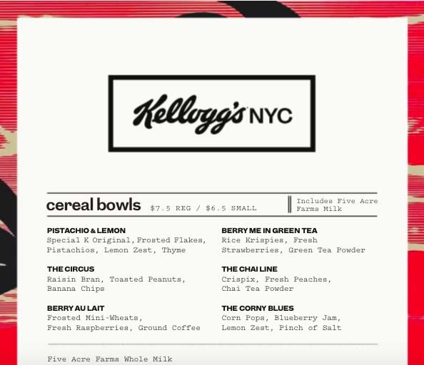 kelloggs carte nyc