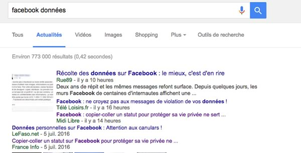 recherche google facebook
