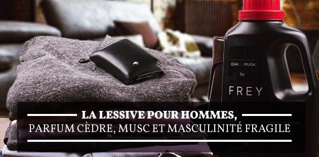 La lessive pour hommes, parfum cèdre, musc et masculinité fragile