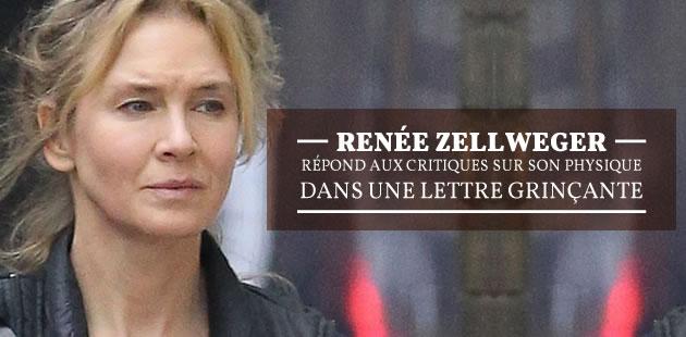 Renée Zellweger répond aux critiques sur son physique dans une lettre grinçante