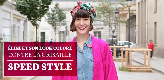 Élise et son look coloré contre la grisaille — Speed Style