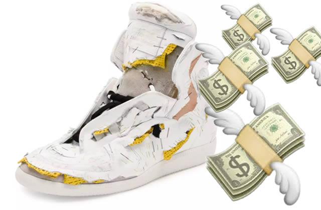 Ces fringues défoncées que je pourrais aussi vendre 1400€, comme les baskets Margiela