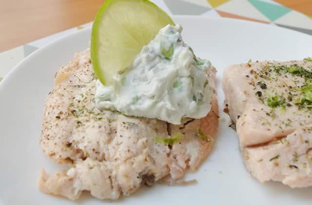 Pavé de saumon et sa sauce wasabi/citron vert, une recette fraîche et épatante