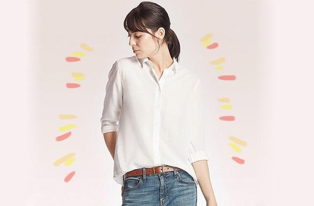 Adopte la blouse rayonne Uniqlo, cette élégante merveille qui ne se froisse pas! (+réduction)