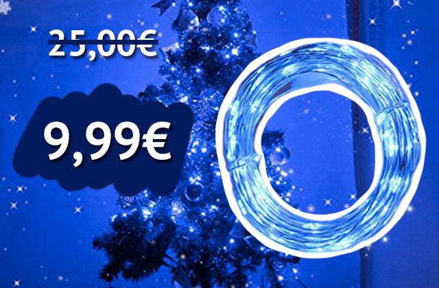 10 mètres de guirlande lumineuse télécommandée à 9€99 au lieu 25€