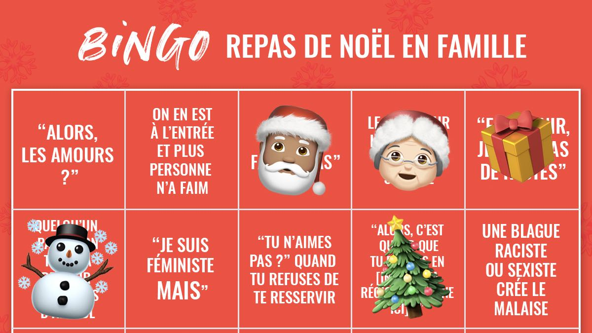 Le bingo du repas de Noël en famille