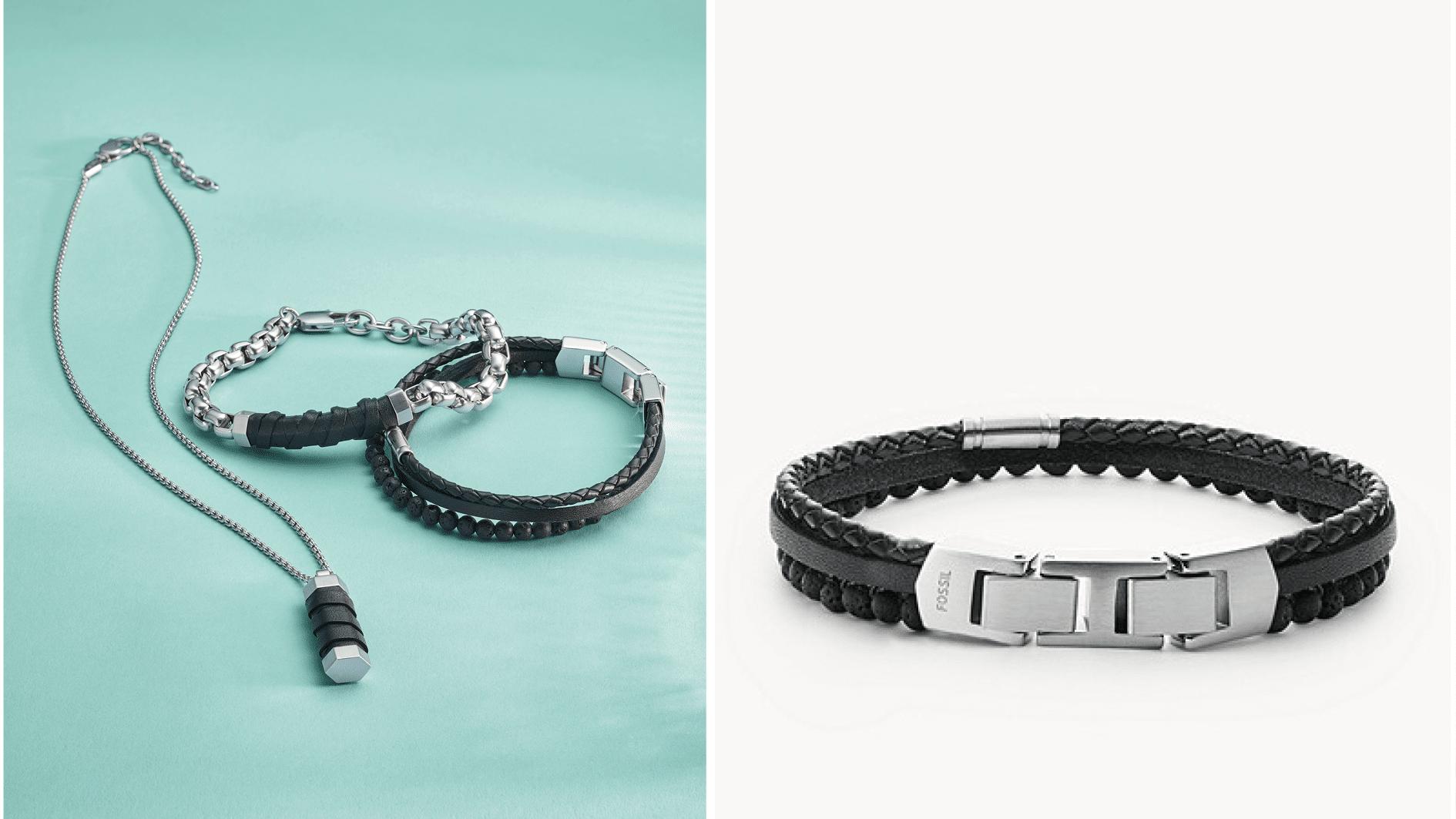 bracelet trois rang en lave noir