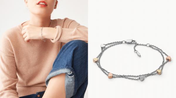 Bracelet double chaîne cœur en acier tricolore