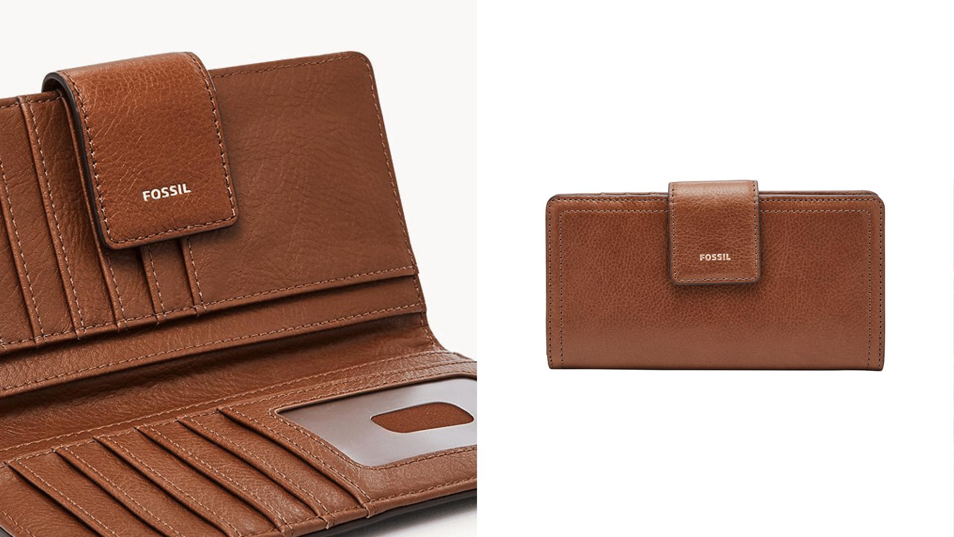 Porte-monnaie rabat cuir marron