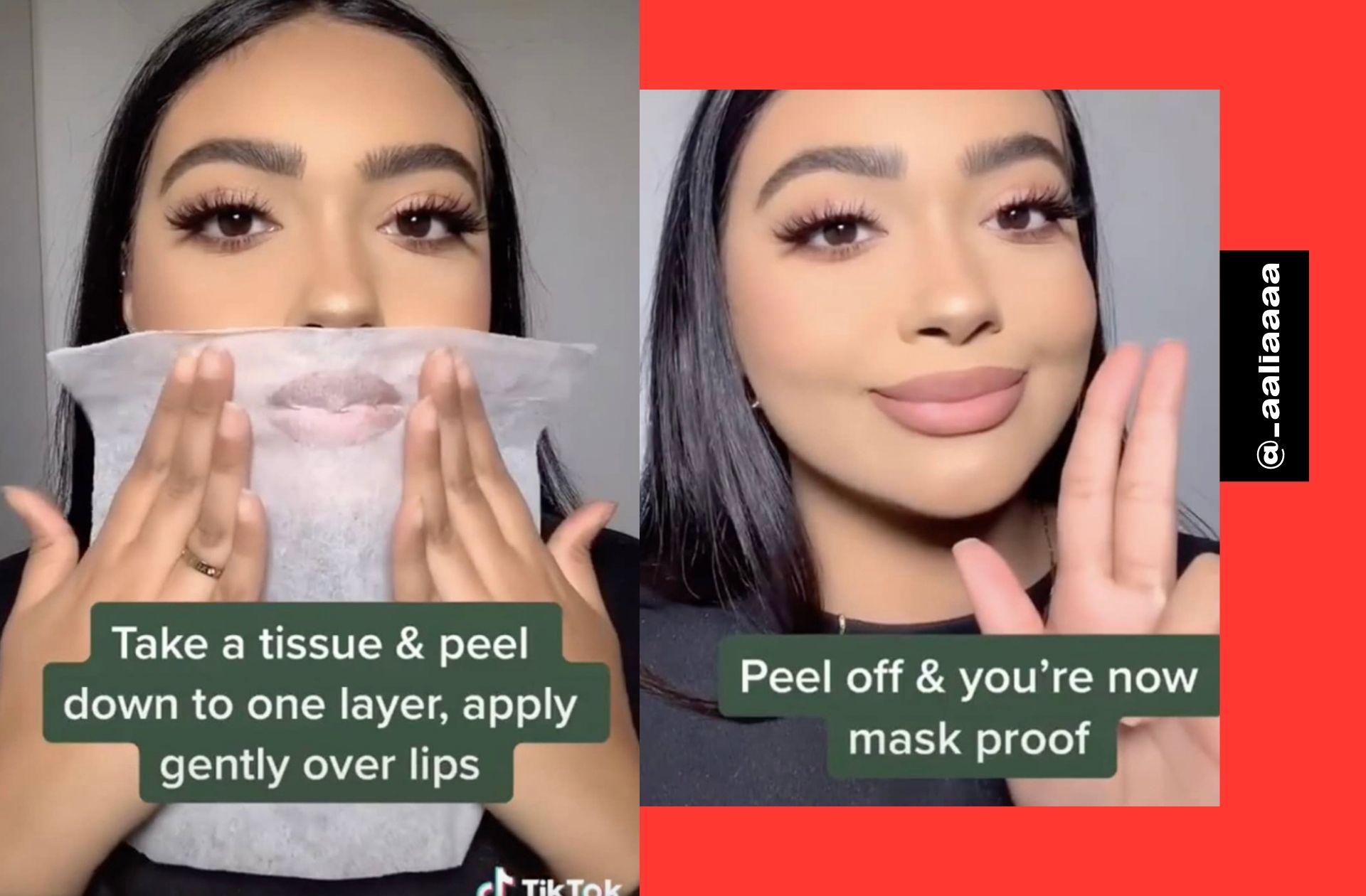 On arrive enfin à faire tenir notre rouge à lèvres sous notre masque grâce à cette astuce toute simple