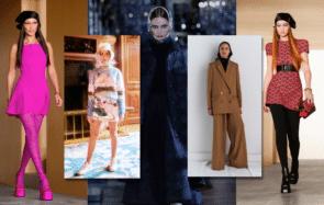 Fichus sur la tête présentés dans les collections automne-hiver 2021-2022 de Versace, Casablanca, Christian Dior, et Maison Rabih Kayrouz