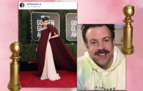 Sofia Carson et Jason Sudeikis aux Golden Globes 2021