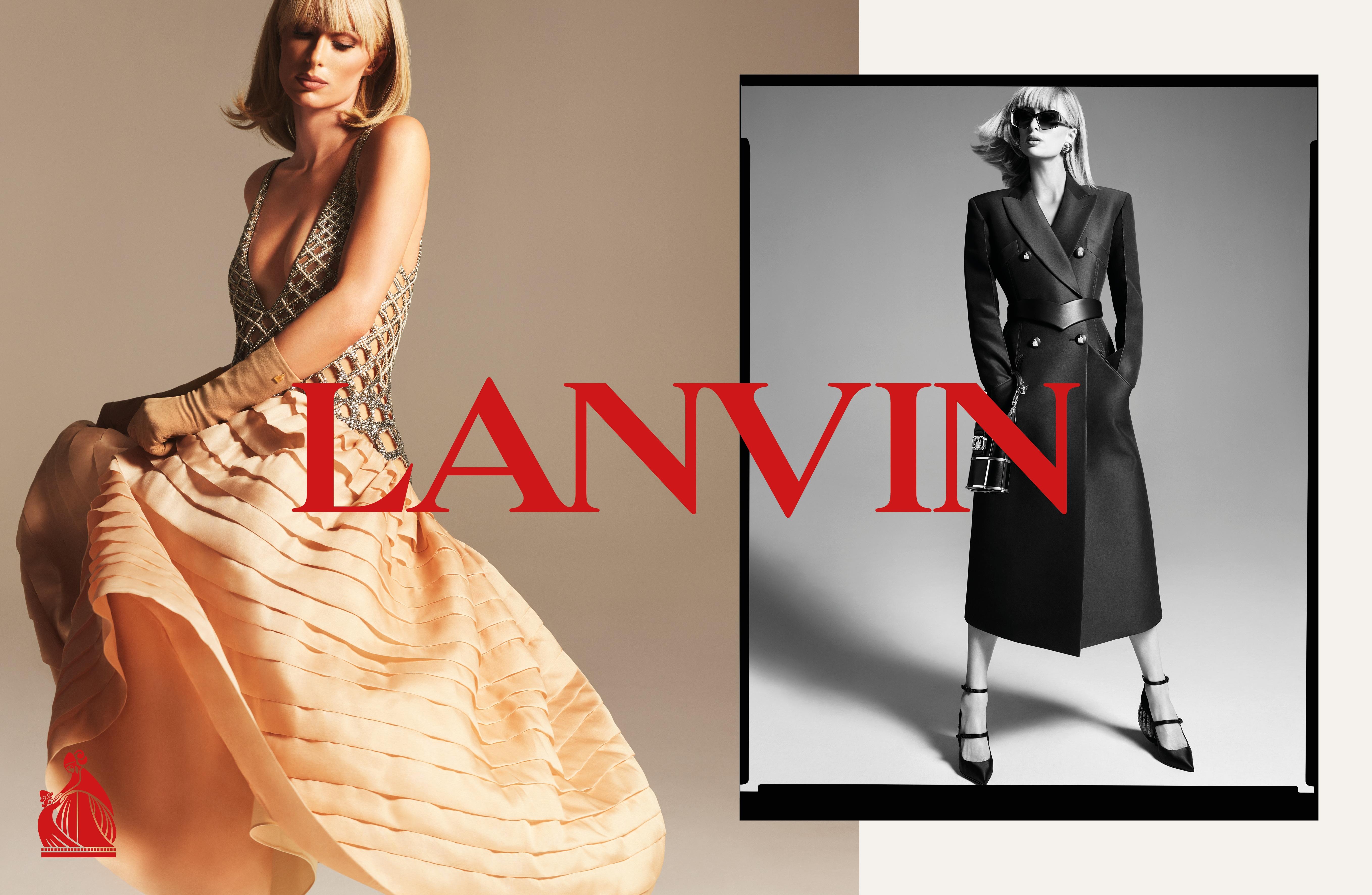 """Paris Hilton, en """"robe de style"""" et en manteau ceinturé, pour la campagne printemps-été 2021 de Lanvin, photographiée par Mert & Marcus"""