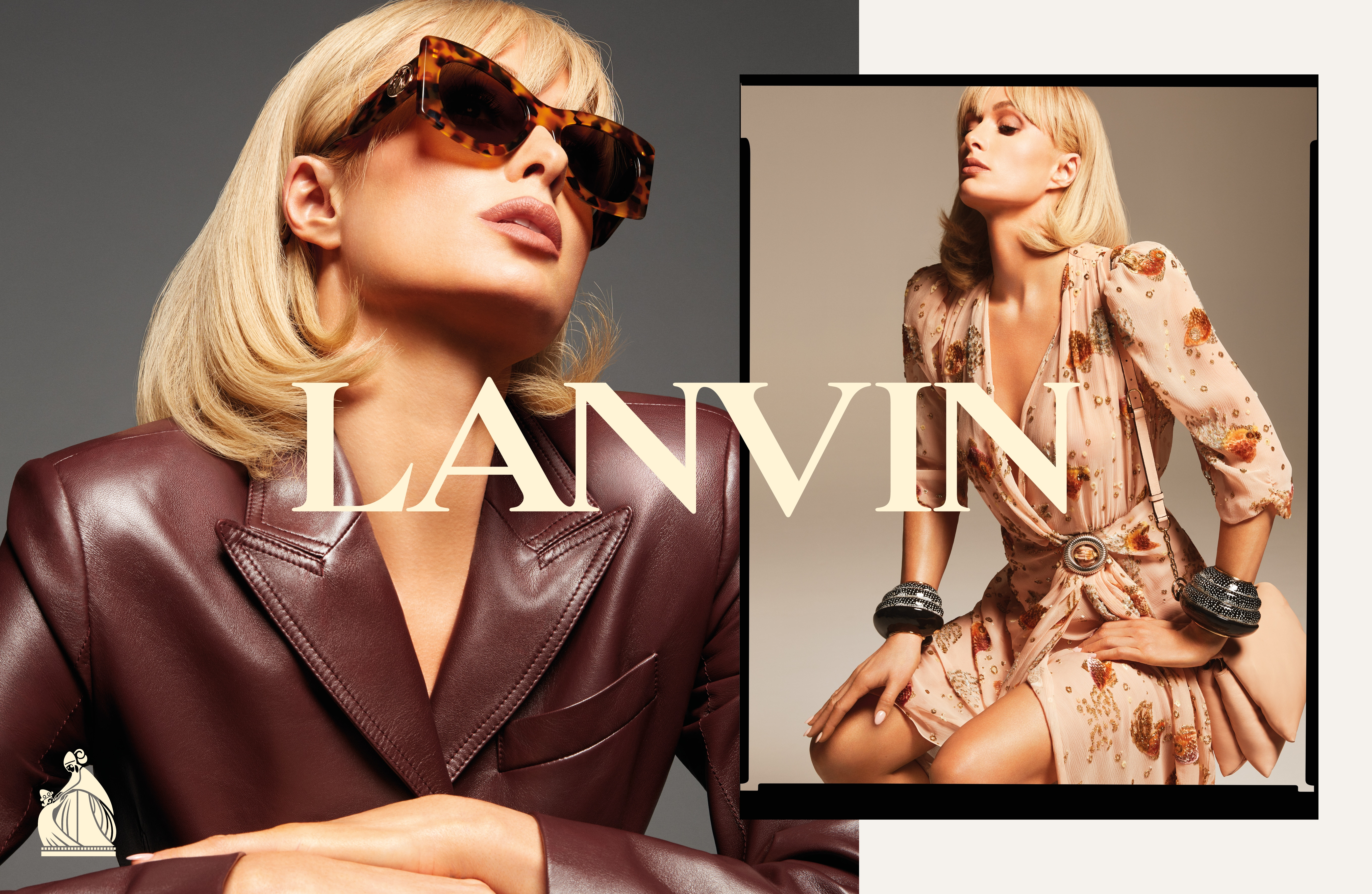 Paris Hilton, photographiée par Mert Alas et Marcus Piggot, pour la campagne Lanvin printemps-été 2021