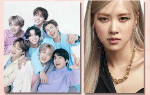 Le groupe de pop-coréenne BTS et l'artiste Rosé du groupe de K-Pop BlackPink