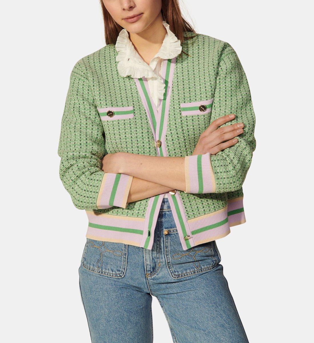Cardigan droit en tweed de coton, Sandro, 157,50€ au lieu de 225€.