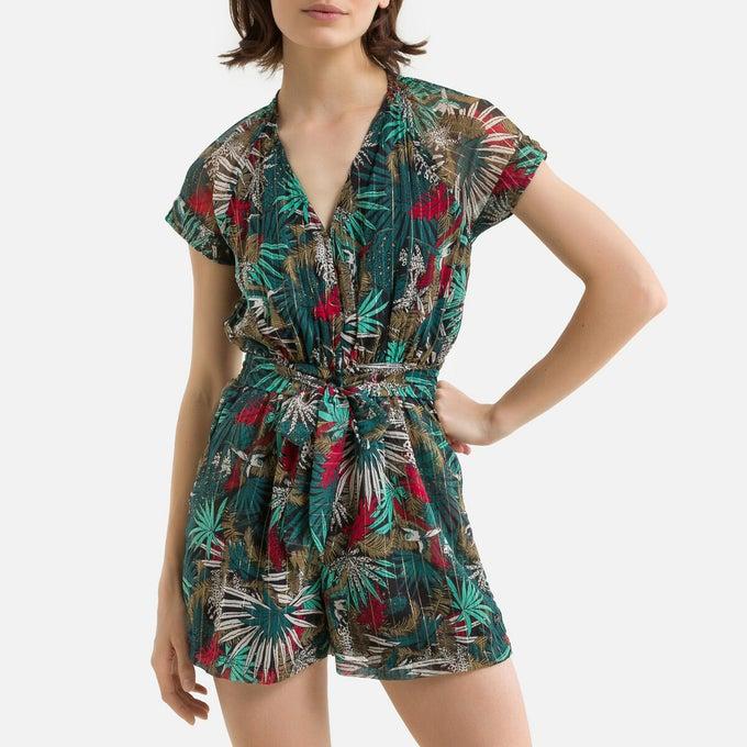 Combishort manches courtes imprimé tropical en polyester, Kaporal, 48,30€ au lieu de 69€.