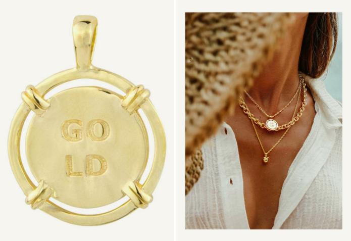 Pendentif en forme de barre de bateau doré de la marque Wildthings