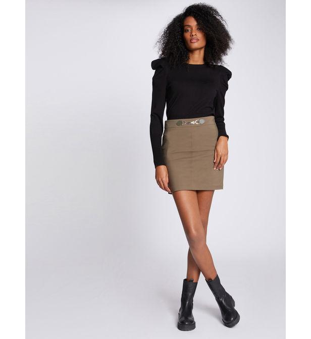 Mini-jupe taille haute à ornement, Morgan, 39€.