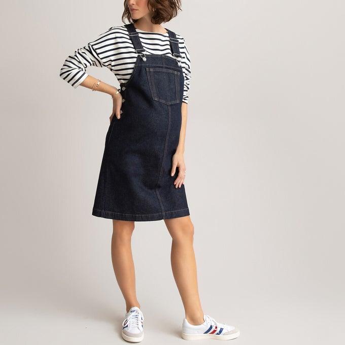 Robe de grossesse salopette en jeans, La Redoute collections, 39,99€.