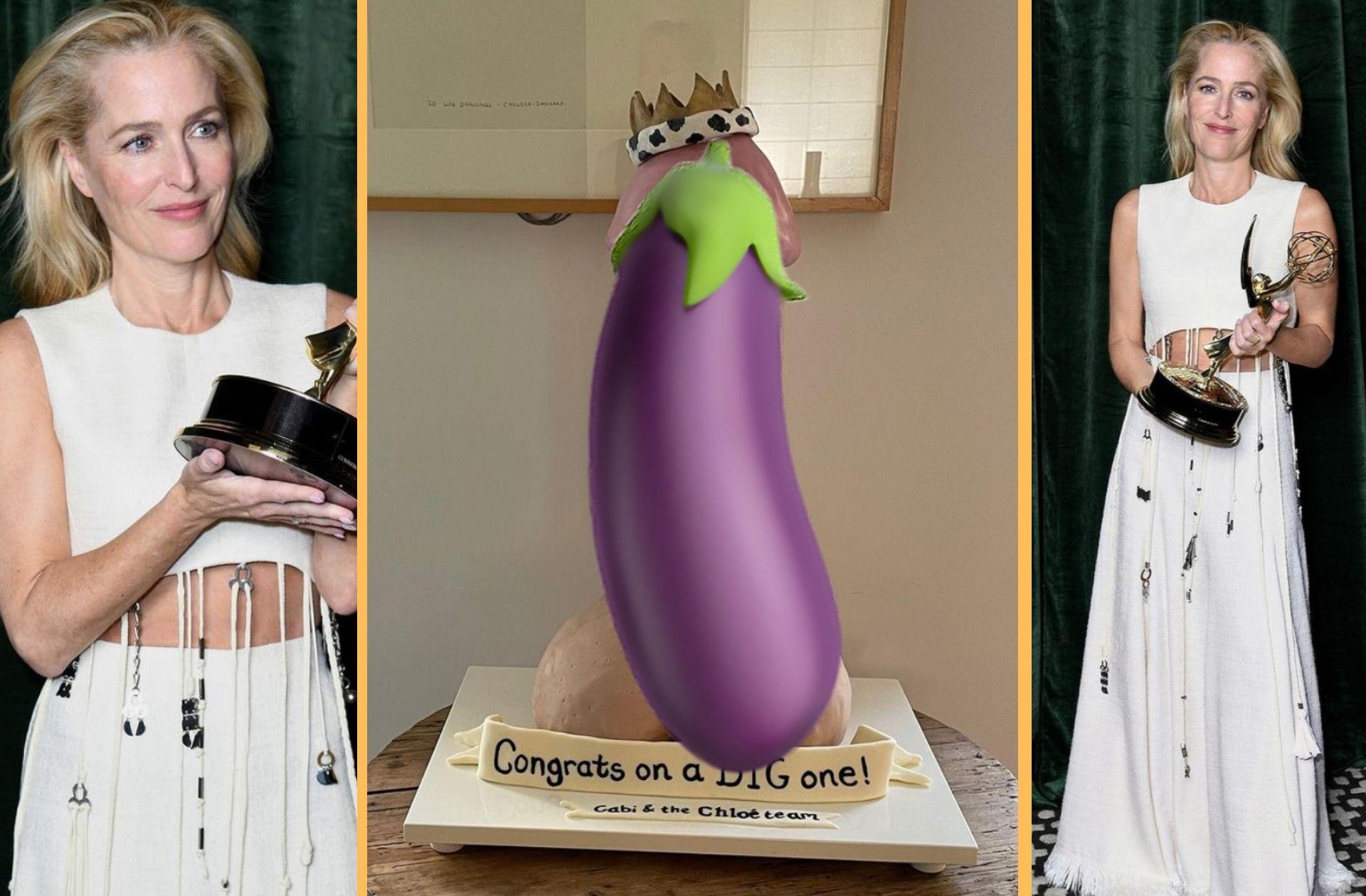 Pour son Emmy Award, Gillian Anderson a reçu… un gâteau-bite géant